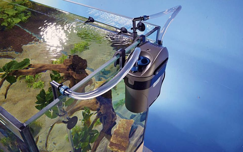 Acquario con filtro esterno